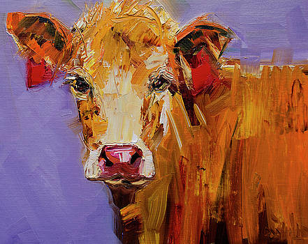 Red Earring Cow by Diane Whitehead