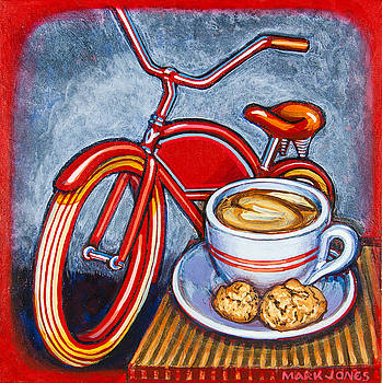 Red Electra Delivery Bicycle Cappuccino and Amaretti by Mark Howard Jones