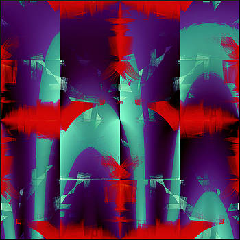 Red Engines and Purple Mix - Abstract Pattern by Gillian Owen