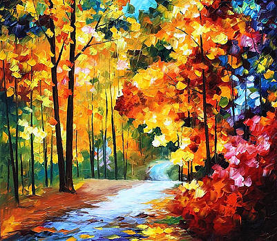 Red Fall - PALETTE KNIFE Oil Painting On Canvas By Leonid Afremov by Leonid Afremov