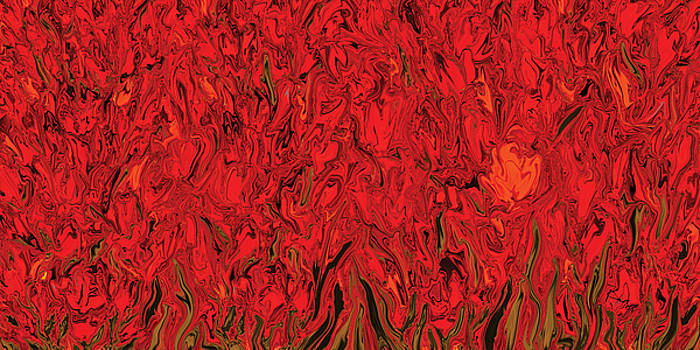 Red Floral 1 by Rabi Khan