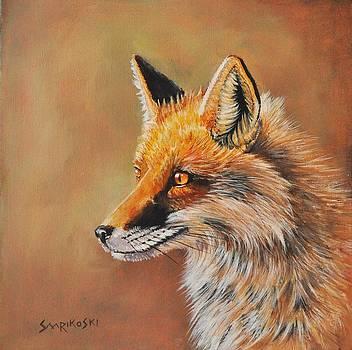 Red Fox Portrait by Louise Charles-Saarikoski