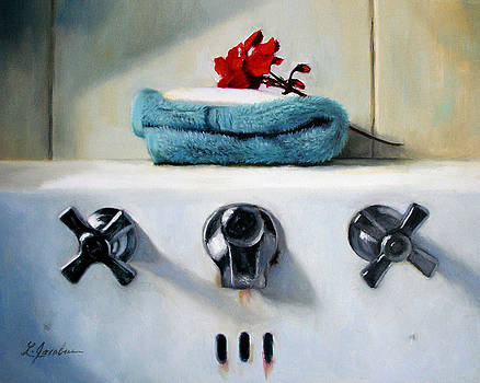 Red Geranium and Old Sink by Linda Jacobus
