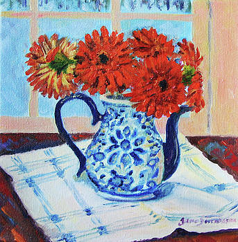 Red Gerbers Blue Pitcher by Jane  Simonson