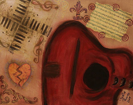 Red Guitar Godl Heart by Christina Fajardo