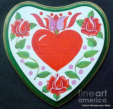 Happy Heart Among Roses by Anna Folkartanna Maciejewska-Dyba