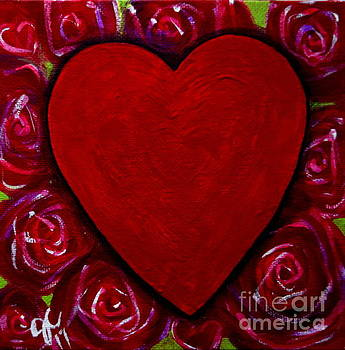 Red Heart and Roses by Jackie Carpenter