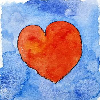 Jennifer Abbot - Red heart on blue