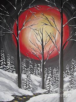 Red Moon  In Winter by Beverly Livingstone