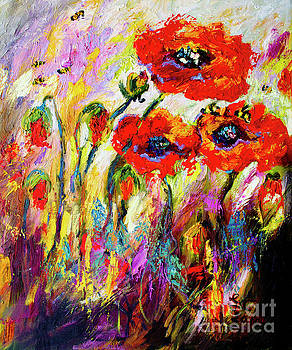 Ginette Callaway - Red Poppies and Bees Provence Dreams