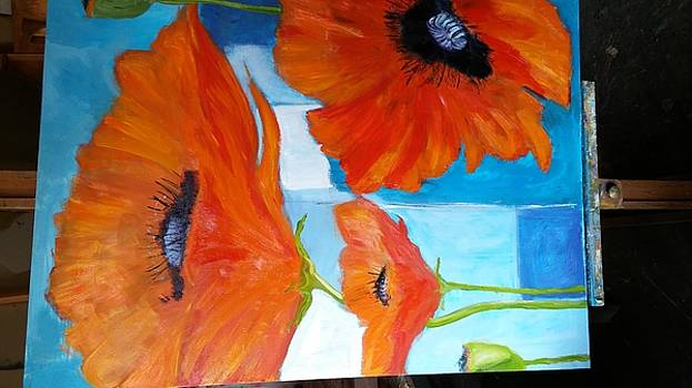 Red poppies on blue by Terrence  Howell