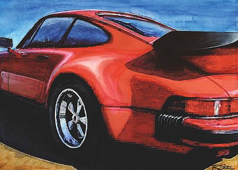 Red Porsche 930 Turbo by Rod Seel