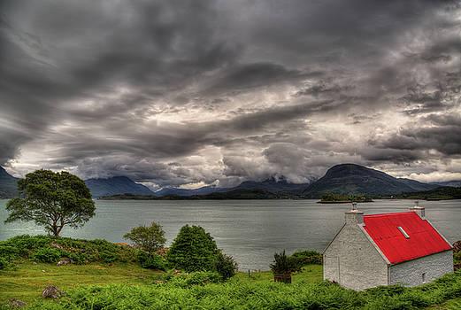 Red Roofed Cottage and Loch Shieldaig by Derek Beattie