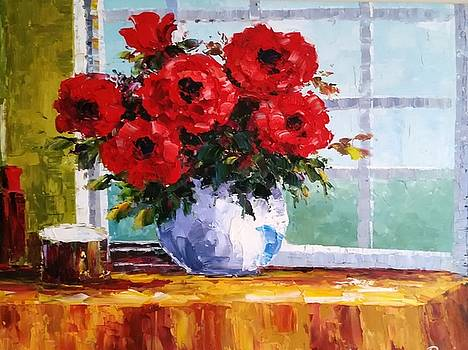 Red Roses on a Blue sky Day by Rosie Sherman