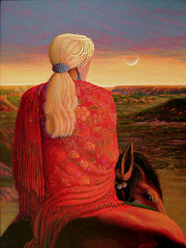 Red Shawl in the Sunset by Charles Wallis