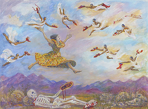 Red Shoes with Messengers by Shoshanah Dubiner