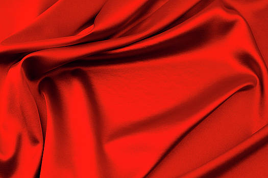 Red silk fabric by Les Cunliffe
