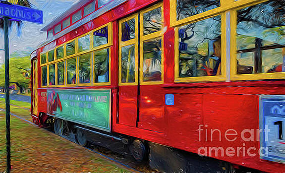 Kathleen K Parker - Red Streetcar Speeds By NOLA- Art