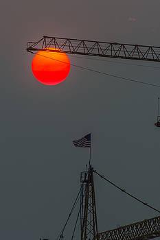Red Sun with Crane by Hisao Mogi