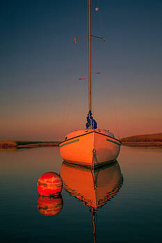 Red Sunrise Reflections On Sailboat by Dapixara Art