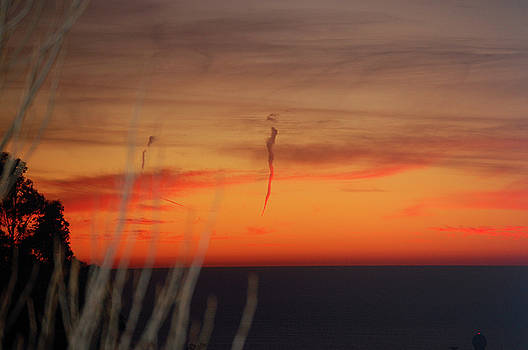 Red Sunset off Pillar Point by Carolyn Donnell