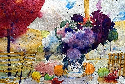Red sunshade and  bouquet by Andre MEHU