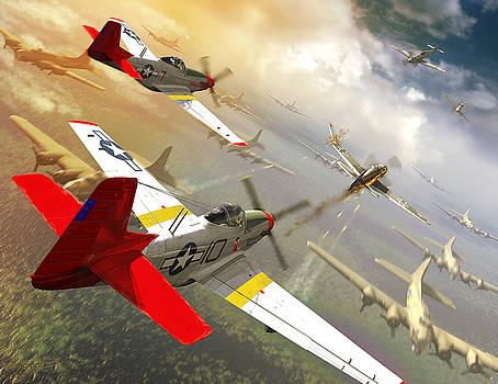 Red Tail Escort  by Kurt Miller