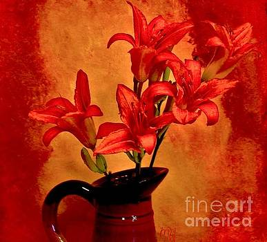Red Tigerlilies in a Pitcher by Marsha Heiken