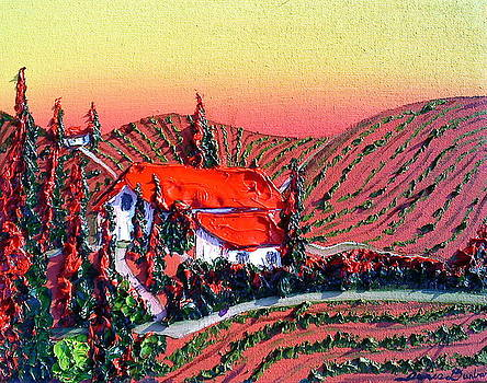 Red Tops Of Tuscany by Portland Art Creations