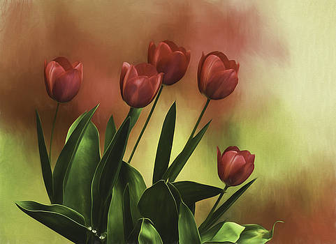 Red Tulips by Diane Schuster