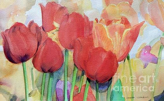 Red Tulips in Spring by Greta Corens