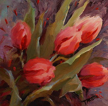 Red Tulips Print by Patti Trostle