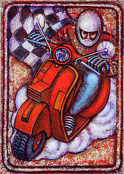 Red Vespa by Mark Howard Jones