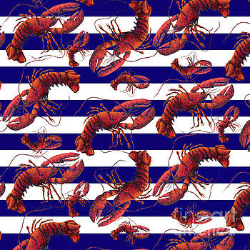 Coastal Red White and Blue Striped Lobster Pattern Design by Megan Duncanson MADART by Megan Duncanson