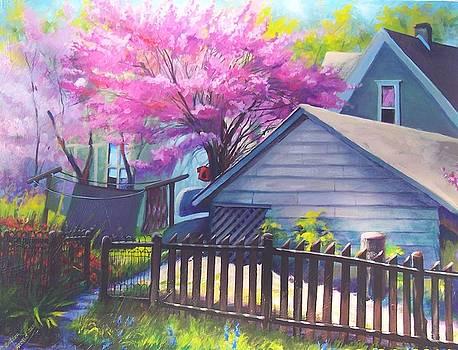 Redbud Tree in Oldtown Springtime by Bobbi Baltzer-Jacobo