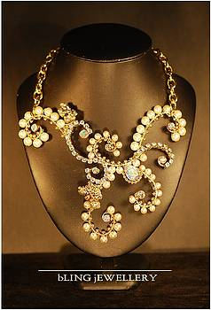 REDUCED - Chunky Pearl and Crystal Wire Wrapped Bridal Necklace by Janine Antulov
