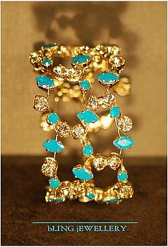 REDUCED Caribbean Blue Opal and Golden Shadow Crystal 3 Row Wire Bracelet by Janine Antulov