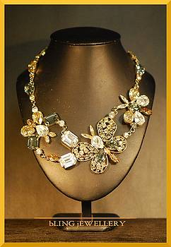 REDUCED Crystal Butterfly Necklace by Janine Antulov