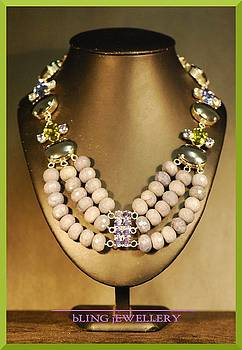 REDUCED Hematite Chunky Aventurine and Crystal Necklace by Janine Antulov