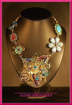 REDUCED Large Foiled Flower Multi Coloured Encrusted Necklace by Janine Antulov