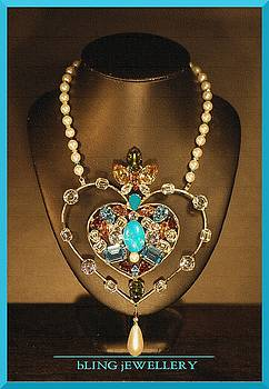 REDUCED Large Heart Multi Coloured Crystal and Pearl Necklace by Janine Antulov