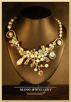 REDUCED Pearl Aurora Borealis and Gold Wire Wrapped Necklace by Janine Antulov