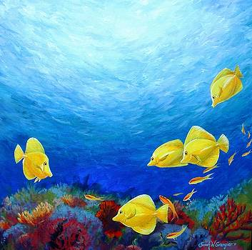 Reef with Yellow Tangs by Sarah Grangier