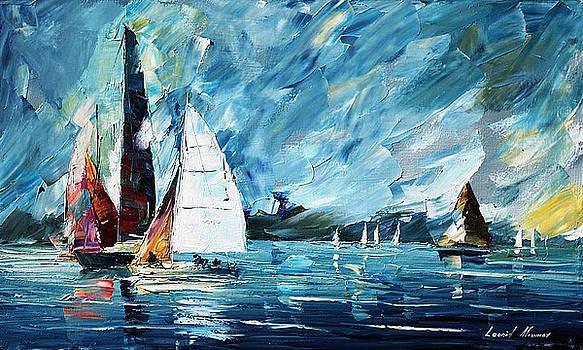 Regatta - PALETTE KNIFE Oil Painting On Canvas By Leonid Afremov by Leonid Afremov
