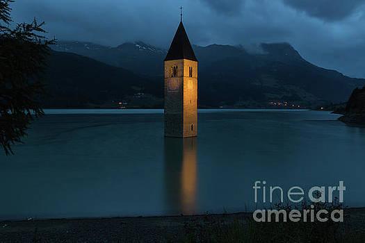 Reschensee by Night by Yair Karelic