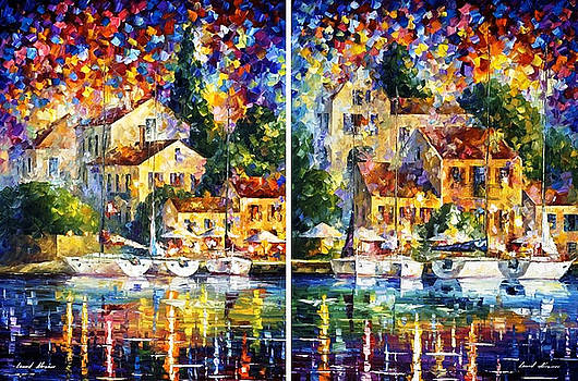 Resort By The River -Set of 2- - PALETTE KNIFE Oil Painting On Canvas By Leonid Afremov by Leonid Afremov