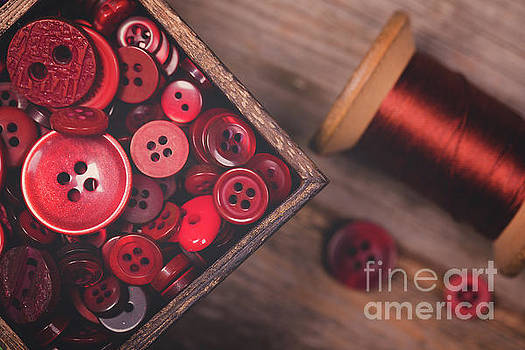 Retro styled red buttons and thread by Jane Rix