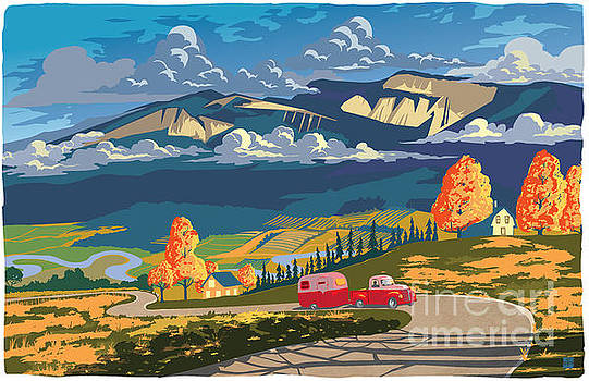 Retro Travel Autumn Landscape by Sassan Filsoof
