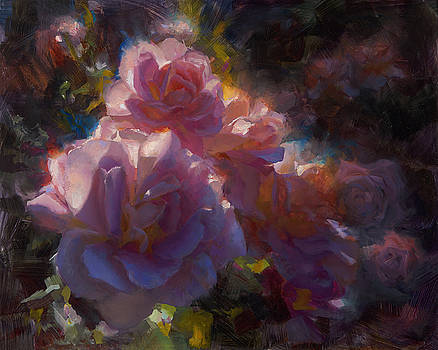 Rhapsody Roses - Flowers in the Garden Painting by Karen Whitworth