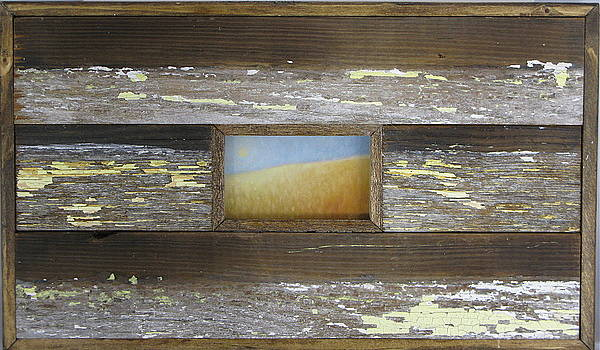 Rising Moon in frame constructed from salvaged wood from a home destroyed by Hurricane Katrina by Cheryl Brumfield Knox